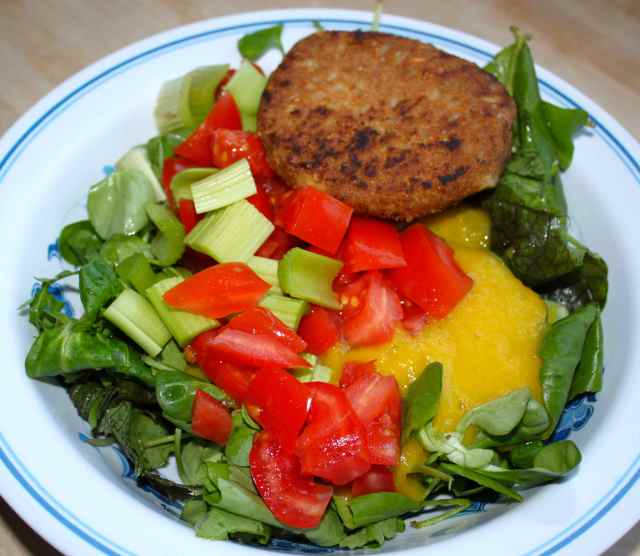 veg burger and salad