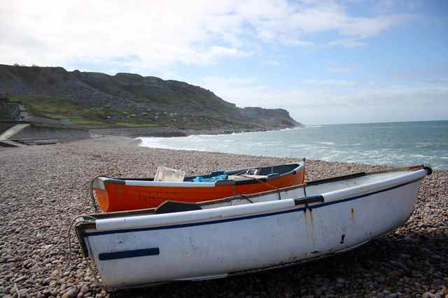 boats on Chesil Beach