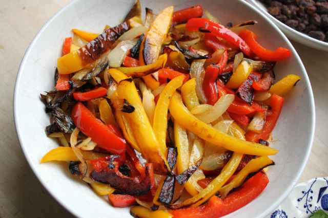 fried onions and peppers