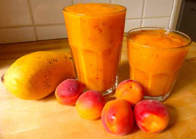 mango and apricots and smoothies