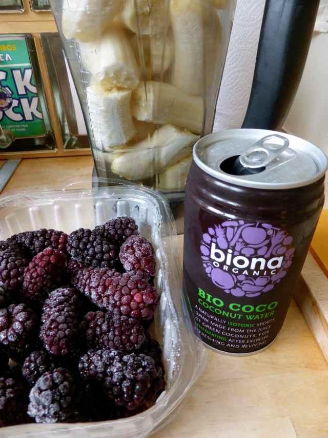 blackberries and coconut water