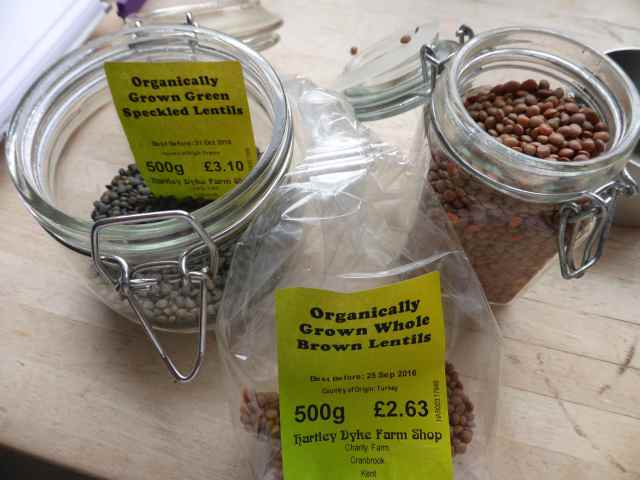 brown and green lentils