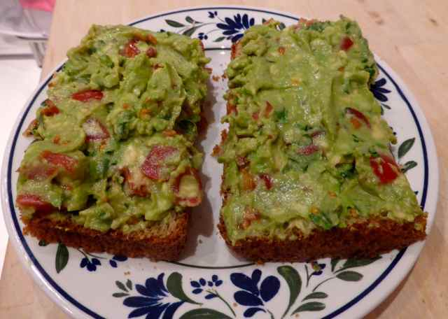 guacamole on toast