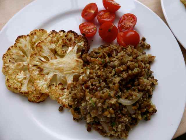 lebanese lentils and roast cauli