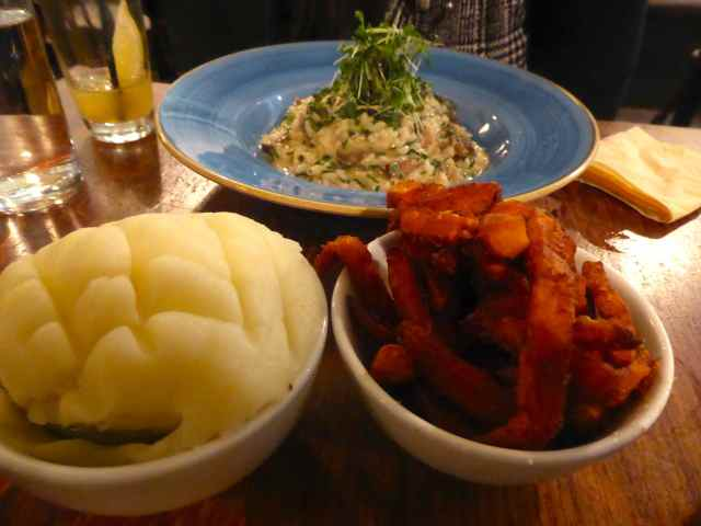 mash and sweet potato fries