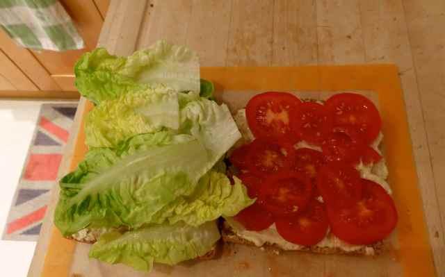 open humous sandwich