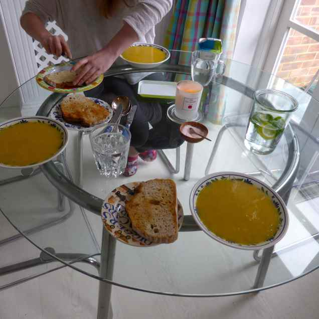 I had a very bad nights sleep thanks to the noise of Storm Katie so today was very lazy and leisurely. I had a late breakfast of tea and toast and then had more toast at lunch time with a soup I made; leek and sweet potato which was very good, even if I do say so myself.