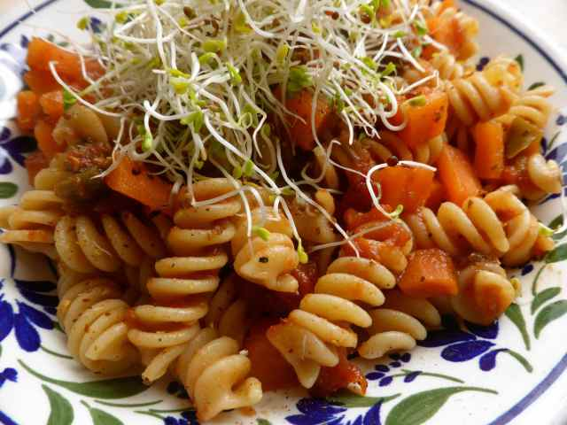 pasta lunch with carrots