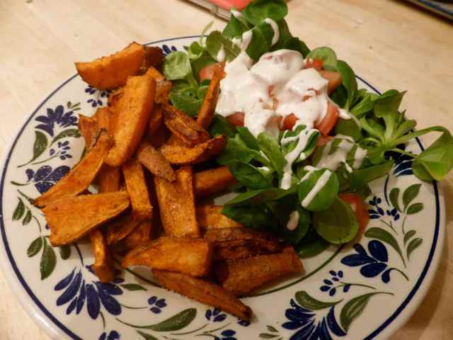 sweet potato chips and salad